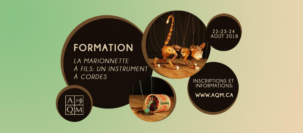 Formation de l'AQM La marionnette à fils: un instrument à cordes dont le formateur est Christophe Croëz du Teatro Golondrino